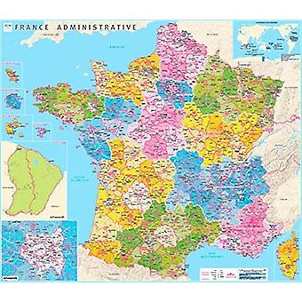 France counties and districts wall map laminated