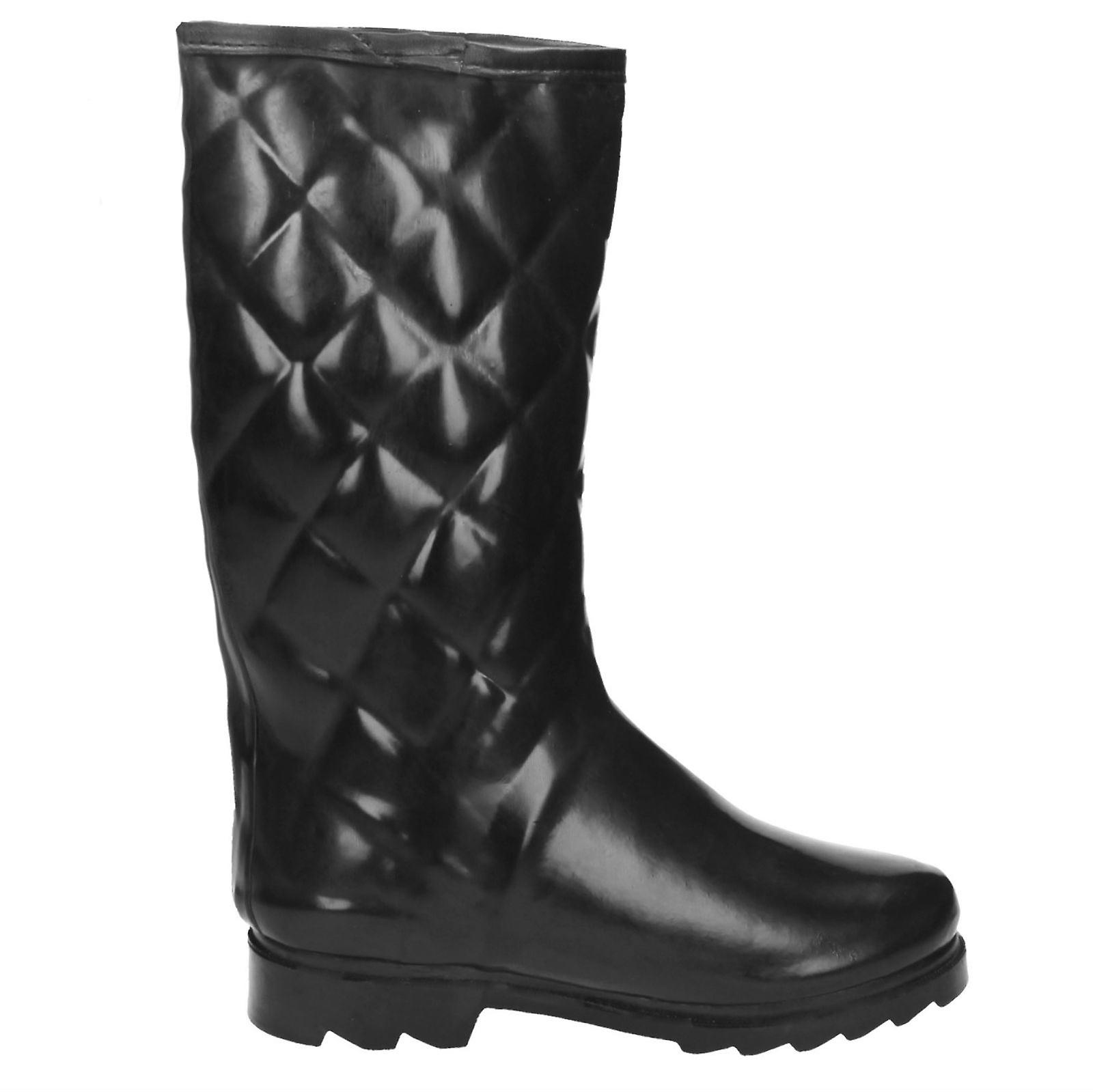 Ladies Spot On Quilted Style Wellington Boot