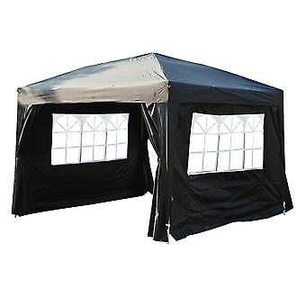 Outsunny Pop Up Water Resistant Gazebo Wedding Party Tent - 3m x 3m - Black
