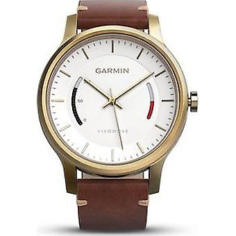 Garmin - Sports watch - smartwatch - vivomove with gold case and premium leather strap - 010-01597-21