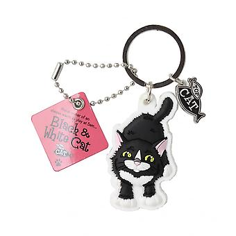 Wags & Whiskers Keyring - Black & White Cat