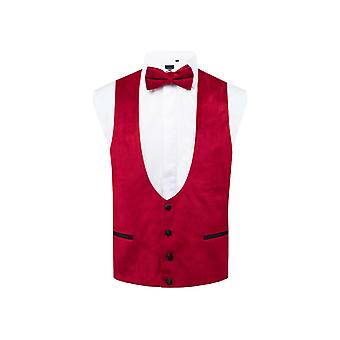 Dobell mens Red Velvet Tuxedo gilet regular fit
