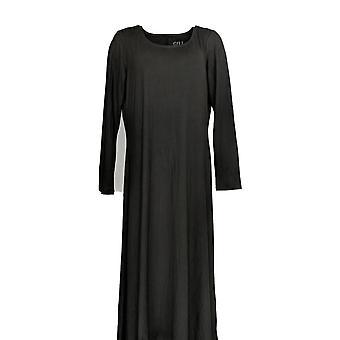G.I.L.I. got it love it Dress Knit Long Slv Scoop Neck Maxi Black A302135