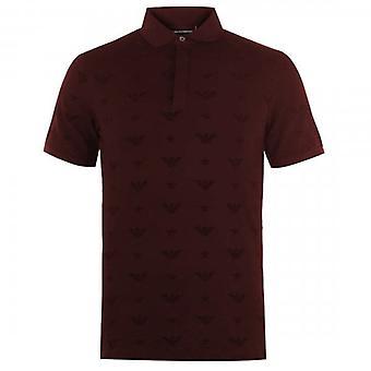 Emporio Armani Burgundy Multi Eagle Stretch Short Sleeve Polo T-Shirt 6G1F81