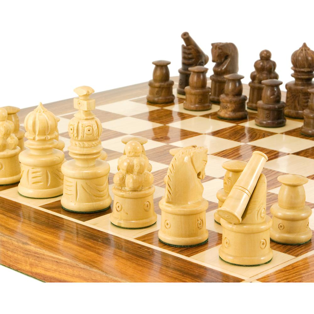 Cannon Series Golden Rosewood Carved Chessmen