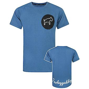 Two Legged Dog Circular Logo Men's Blue T-Shirt