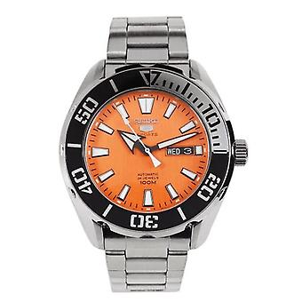 Seiko 5 Sports Silver Stainless Steel Orange Dial Automatic Men's Watch SRPC55K1