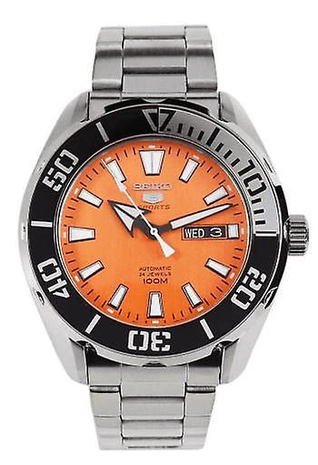 Seiko 5 Sports Silver Stainless Steel Orange Dial Automatic Men's Watch SRPC55K1 RRP £289