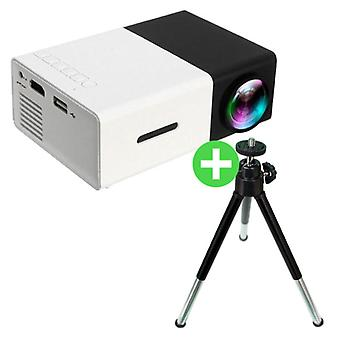 Salange YG300 LED Projector & Tripod - Mini Projector Home Media Player Black