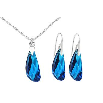 Ah! Jewellery Sterling Silver Crystals From Swarovski Wing Set. Stunning Capri Blue, Truly Unique.