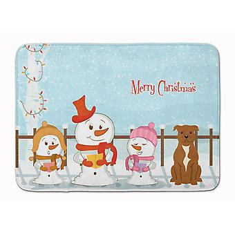Merry Christmas Carolers Staffordshire Bull Terrier Brown Machine Washable Memor