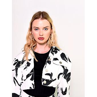 White paint strokes cropped jacket