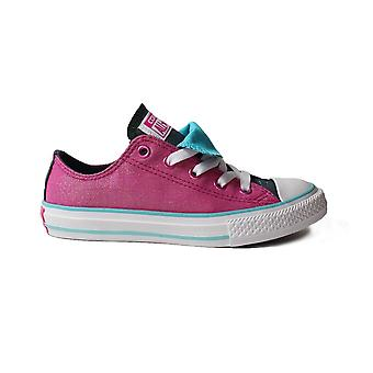 Converse Chuck Taylor All Star Double Tongue 656035C Magenta Glitter Canvas Girls Lace Up Shoes