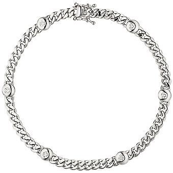 Náramek 585 Gold White Gold 6 Diamanty Brilantní 0,30ct. 19 cm bílý zlatý náramek