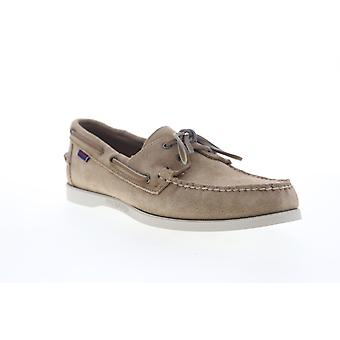 Sebago Portside Suede  Mens Beige Wide Suede Casual Lace Up Boat Shoes