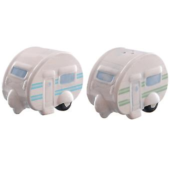 Ted Smith Ceramic Caravan Salt & Pepper Shaker Set