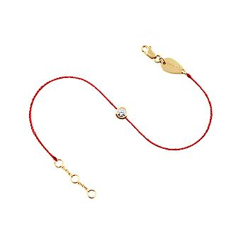 Bracelet 0.10 carat Diamond Solitaire and 18K Gold, on Thread - Yellow Gold, Red