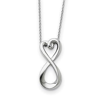 925 Sterling Silver polerad gåva Boxed Spring Ring Rhodium pläterade Halsband 18 Tums smycken gåvor för kvinnor