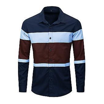 Allthemen Men's Lapel Multicolor Stripe Premium Shirts Casual Long Sleeve Shirt