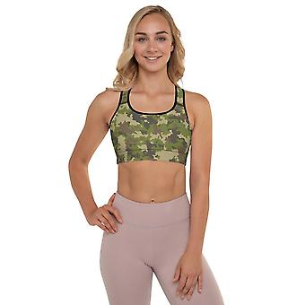 Padded Sports Bra | Green Camouflage #2