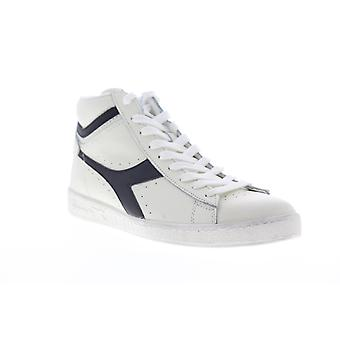 Diadora Game L High Waxed  Mens White Leather High Top Sneakers Shoes