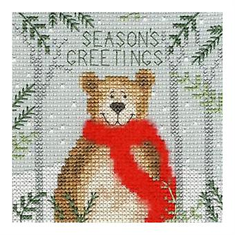 Bothy Threads ristipistokortti kit - Xmas Bear