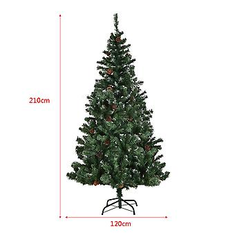 7 ft/ 2.1m Artificial Xmas Christmas Tree Cone Snow Covered Large Trees Fence