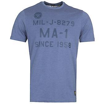 MA-1 F22 Logo Print Navy T-Shirt