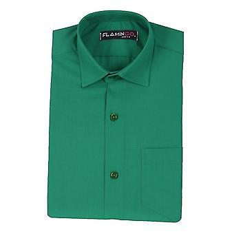 الأولاد القطن الرسمي قميص أخضر داكن