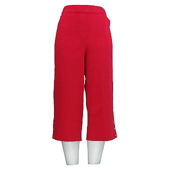 Quacker Factory Women's Petite Pants DreamJeannes Wide Leg Red A376632