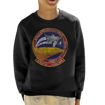 NASA STS 51 G Discovery Mission Badge Distressed Kid's Sweatshirt