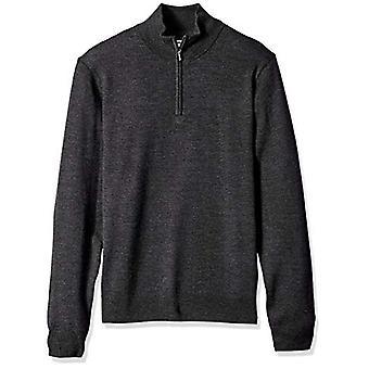 Goodthreads Men's Merino Wolle Viertel Zip Pullover, Kohle, groß