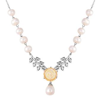 925 Sterling Silver Mother of Pink/White Pearl, Fresh Water Pearl Necklace, 20