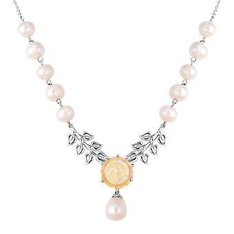 925 Sterling Sølv Mor til Pink / Hvid Perle, Ferskvand Pearl Halskæde, 20