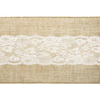 2.75m Jute and Lace Centre 28cm Table Runner Roll