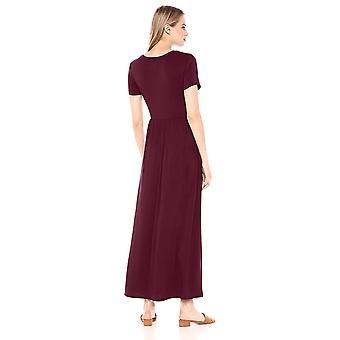 Essentials Frauen's solide kurzarm Taille Maxi Kleid, Burgund, XS