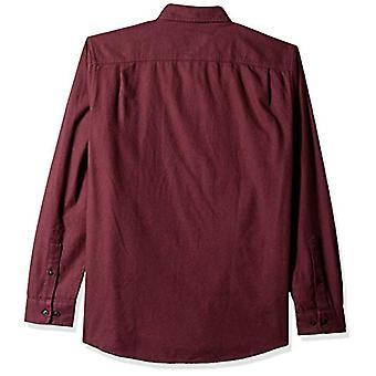 Essentials Men's Regular-Fit Long-Sleeve Solid Flannel Shirt, Burgundy...