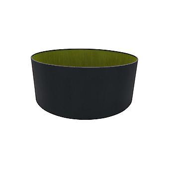 Round Cylinder, 500 x 200mm Dual Faux Silk Fabric Shade, Midnight Black, Green Olive