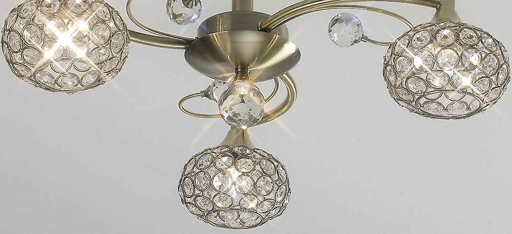 Flush Ceiling 3 Light Antique Brass, Crystal