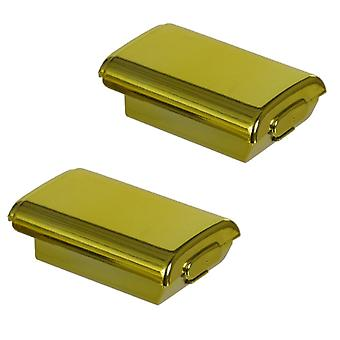 Zedlabz battery holder shell cover for microsoft xbox 360 wireless controllers - 2 pack gold