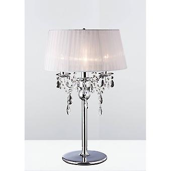 Olivia Table Lamp With White Lampshade 3 Polished Chrome / Crystal Bulbs