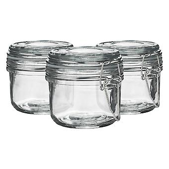 Argon Tableware Glass Storage Jars with Airtight Clip Lid - 125ml Set - Clear Seal - Pack of 3