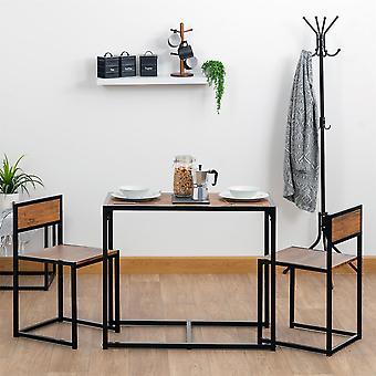 Compact Dining Table and Chairs Set - Small Modern 2 Person Wooden Kitchen Furniture Set - Metal Frame