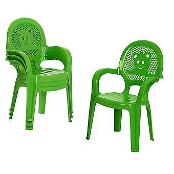 Resol 4 Piece Mini Kids Garden Chair Set - Plastic Outdoor Play Bedroom Children's Furniture - Green