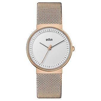 Braun Women's   Classic   Rose Gold PVD Mesh   White Dial BN0031RGMHL Watch