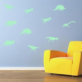 9pcs Glow In The Dark Dinosaurs Toy