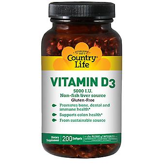Country Life D3-vitamiini, 5000 IU, 200 Softgels