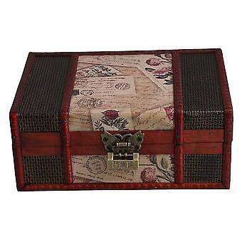 Holz-Box PU Leder Stempel Muster Bücher Karten Sammlung Box mit Schloss