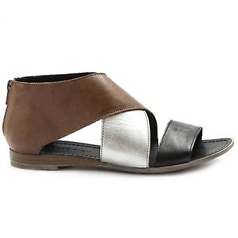 Le Bohemian Women's Sandal in Silver and Black Brown Leather