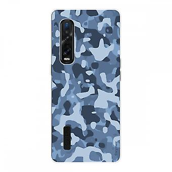 Hull For Oppo Find X2 Pro In Silicone Soft 1 Mm, Blue Military Camouflage
